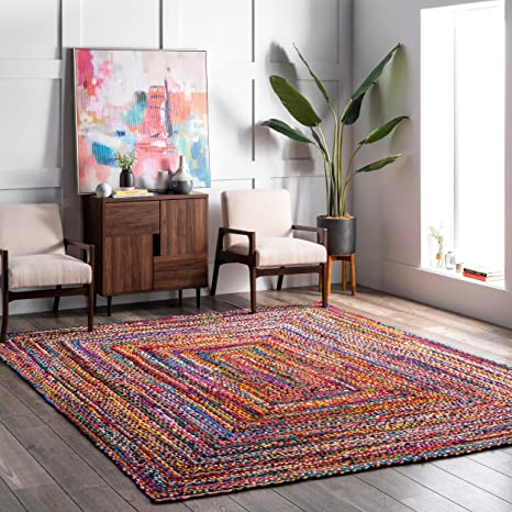 Amazon Com Nuloom Tammara Boho Cotton Hand Braided Area Rug 5 X 8 Multi Furniture Decor