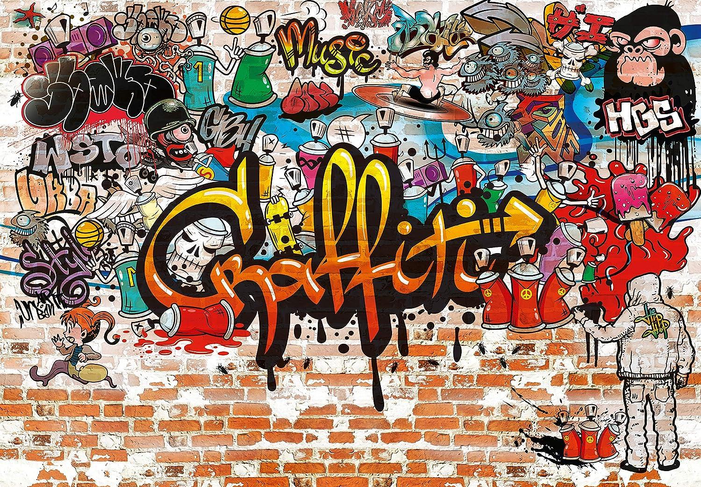murimage Fototapete Graffiti 183 x 127 cm Steinwand Grafitti Teenager Kinderzimmer Jungen inklusive Kleister