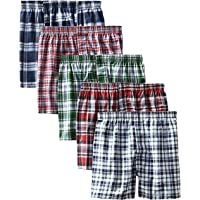 Hanes Men's 5-Pack FreshIQ Tartan Boxer with Inside Exposed Waistband