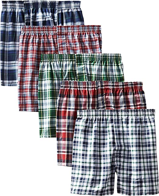 XLarge Pack of 4 Fruit of the Loom Boys/' Tartan Woven Boxer Tag Free 2 Pack