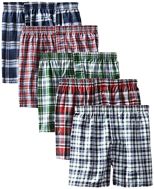 02f47223d8a6 Hanes Men's 5-Pack Tartan Boxer with Inside Exposed Waistband at Amazon  Men's Clothing store:
