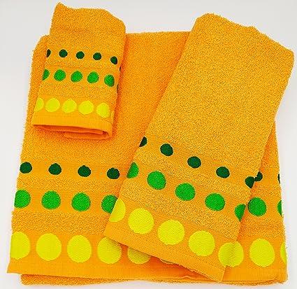 Confort Home M.T (Naranja Bolas) Juego de Toallas de baño 3 Piezas (1