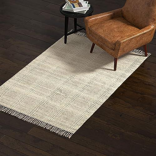 Rivet Modern Textured Area Rug, 4 x 6 Foot, Grey, White