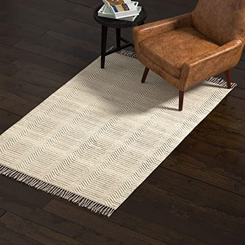Rivet Modern Textured Area Rug, 4 x 6 Foot, Grey, White