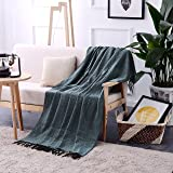 "Luxurious Woven Throw Blanket Velvet Plush Super Soft-60"" x 50"" (Blue & Brown) by Exclusivo Mezcla"