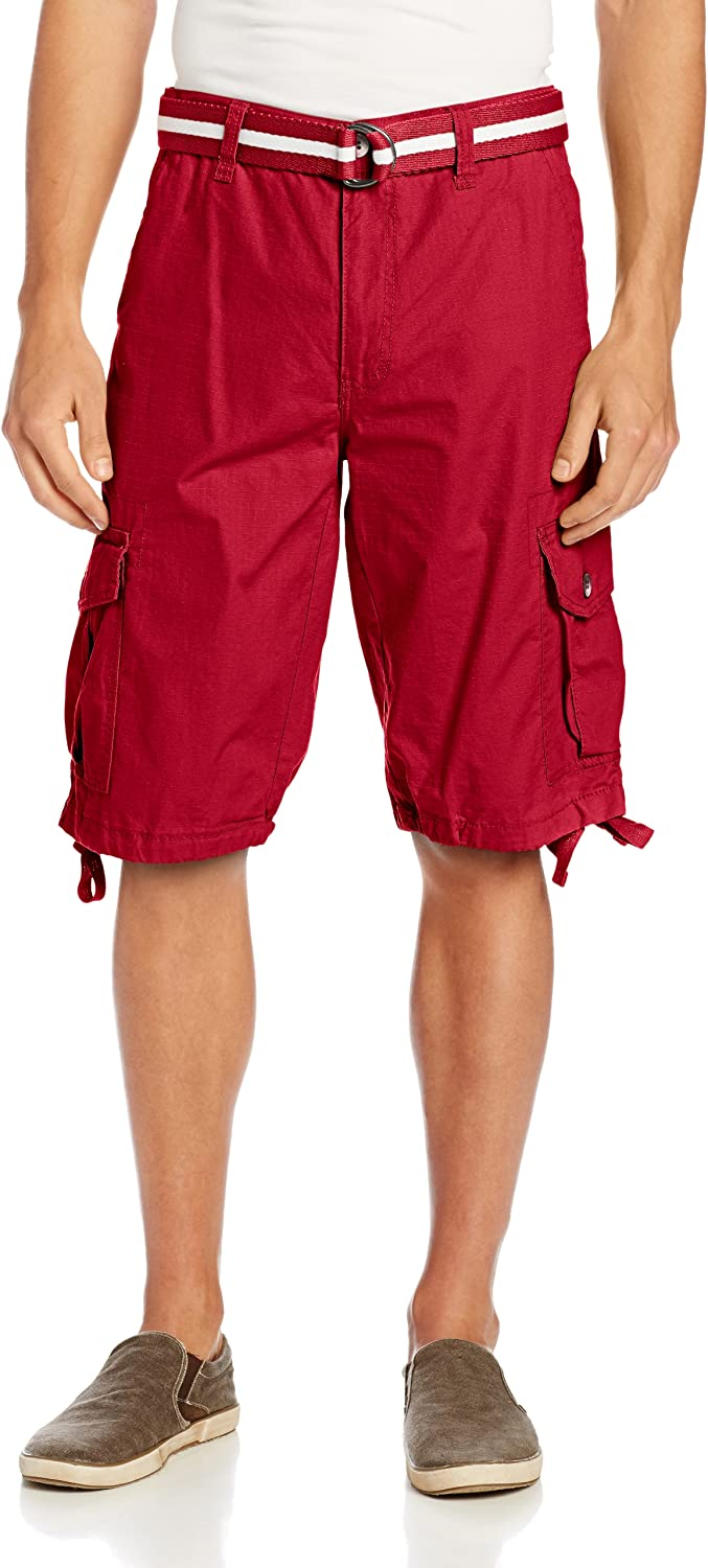 Southpole Mens All-Season Belted Ripstop Basic Cargo Short