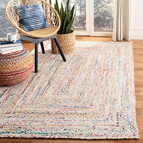 Safavieh Braided Collection BRD210B Handwoven Ivory and Multicolored Area Rug 5 x 8