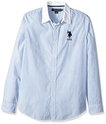 U.S. Polo Assn. Hombre Manga Larga Camisa de Botones - Azul - X ...