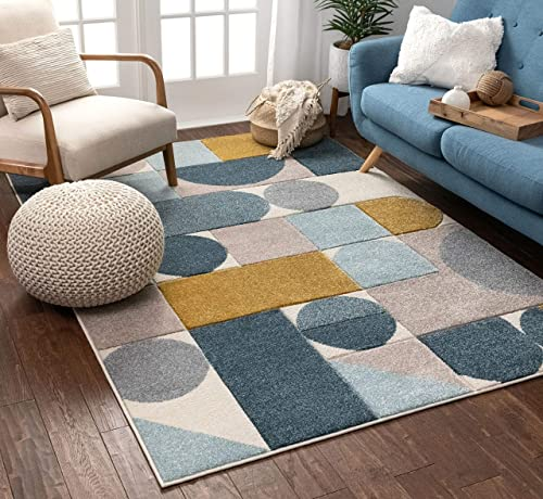 Well Woven Dion Blue Modern Geometric Boxes Circles Pattern Area Rug 5×7 5 3 x 7 3