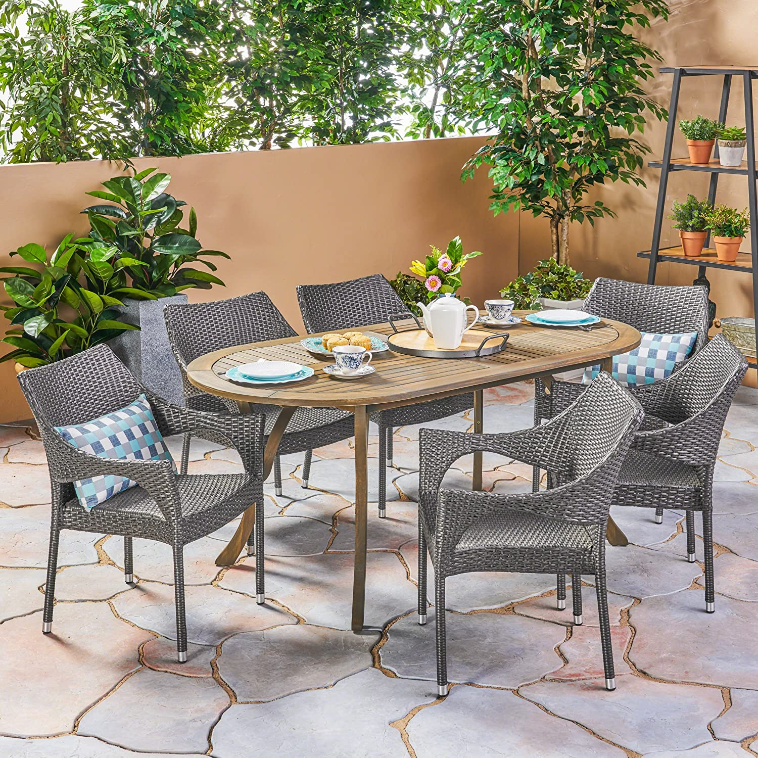Amazon com great deal furniture harris outdoor 7 piece wood and wicker dining set gray finish and gray garden outdoor