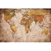 Affiche vue usage - Décoration murale carte géographie mondiale atlas continental map d une ecole ancienne | mur deco Poster mural Image by GREAT ART