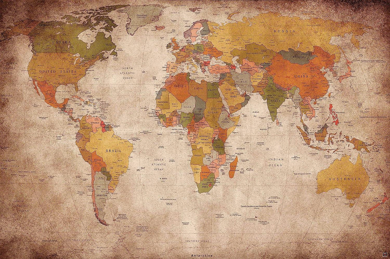 Great Art World Map Vintage Poster Retro Wall Art Xxl World Map