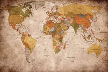 World Map Poster used look - wall picture decoration Globe ...