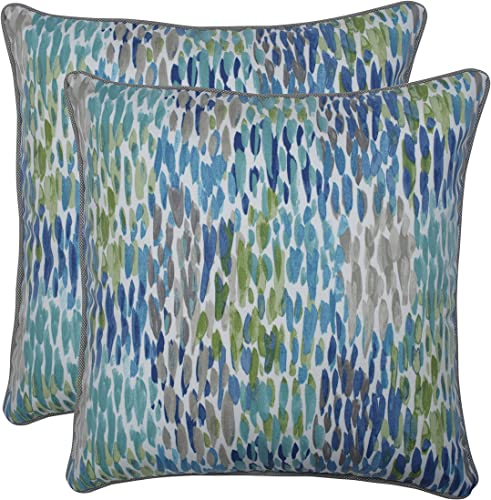 Pillow Perfect Outdoor Indoor Make It Rain Cerulean 18.5-inch Throw Pillow Set of 2 , Blue