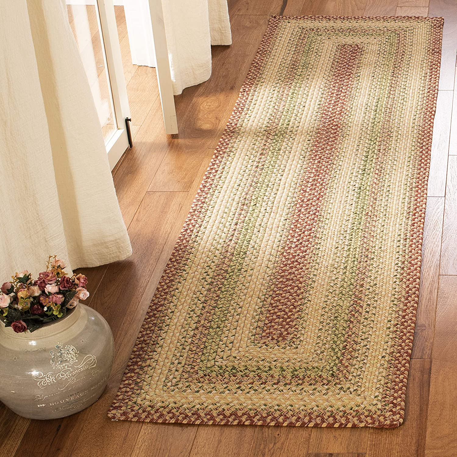 Safavieh Braided Collection Brd303a Handmade Country Cottage Reversible Runner 2 3 X 12 Rust Multi Furniture Decor Amazon Com