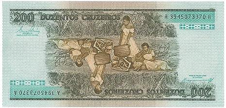 Fuera de circulaci/ón y Crisp Stampbank Brasil 200 Cruzeiros Billetes para coleccionistas Mundial Dinero Moneda Bill Am/érica del Sur 1984