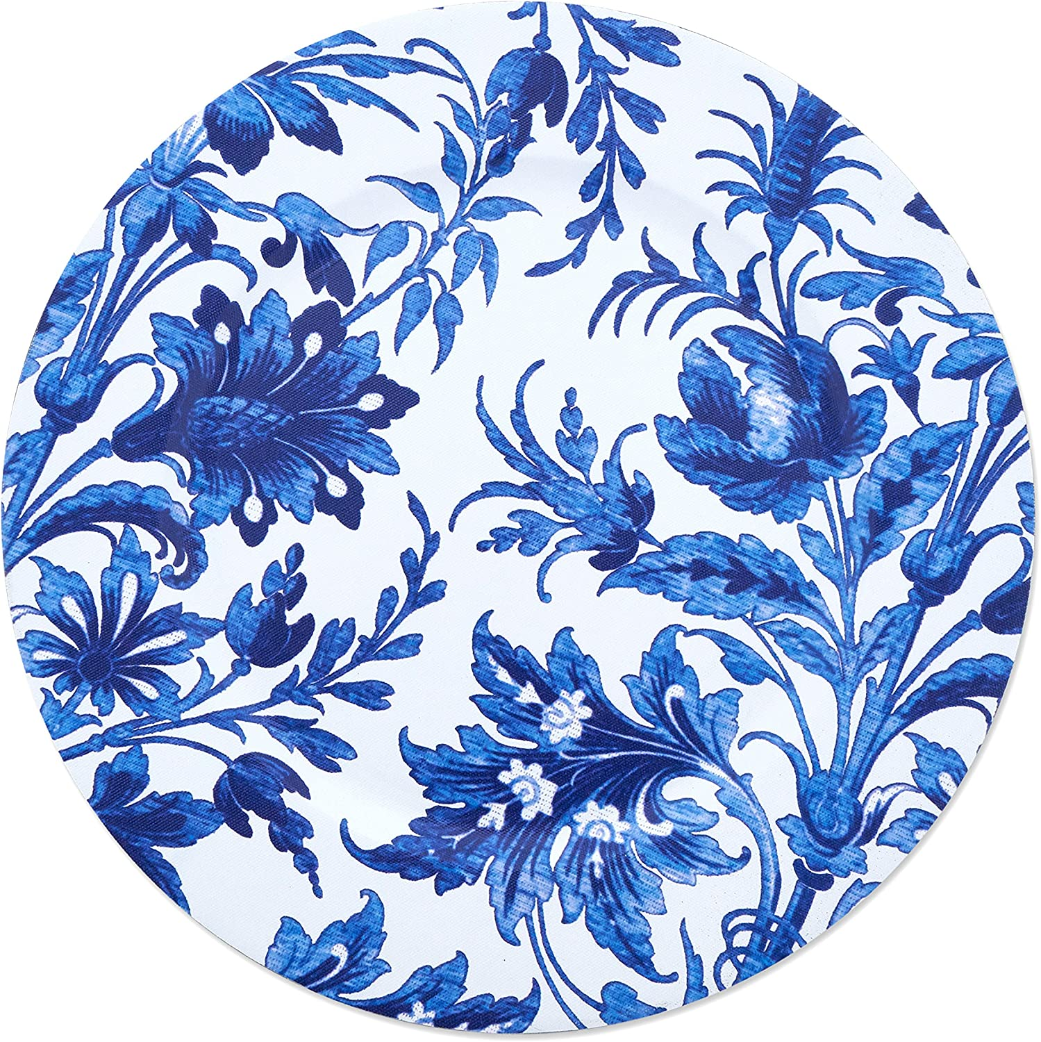 SARO LIFESTYLE CH016.IN14R Florentia Design French Style Floral Print Decorative Charger Plate 14 Indigo