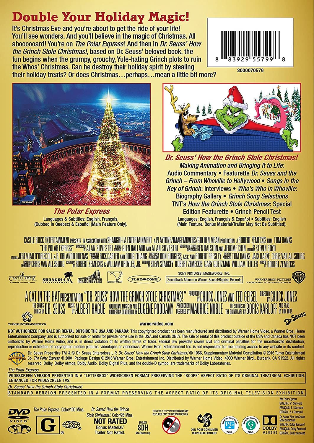 amazon com the polar express how the grinch stole christmas