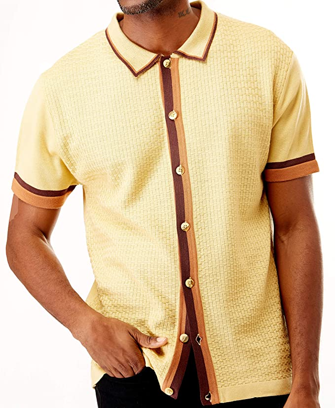 Mens Vintage Shirts – Casual, Dress, T-shirts, Polos Men's Short Sleeve Knit Sports Shirt - Modern Polo Vintage Classics: Solid Geometric Jacquard with Color Tipping $49.00 AT vintagedancer.com