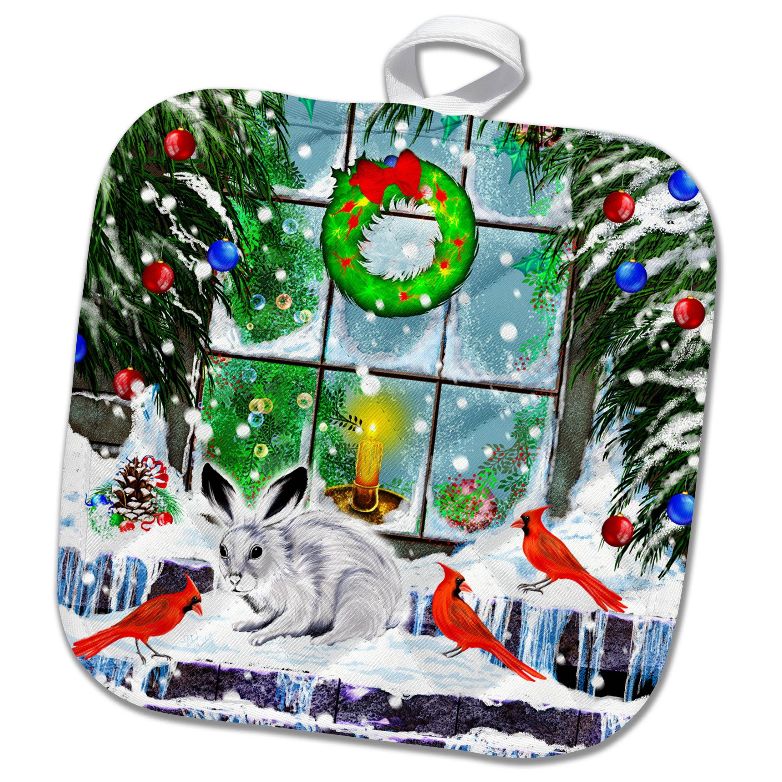 3dRose Dream Essence Designs-Holidays Christmas - A festive Christmas window scene with decorations, cardinals and bunny - 8x8 Potholder (phl_269502_1)