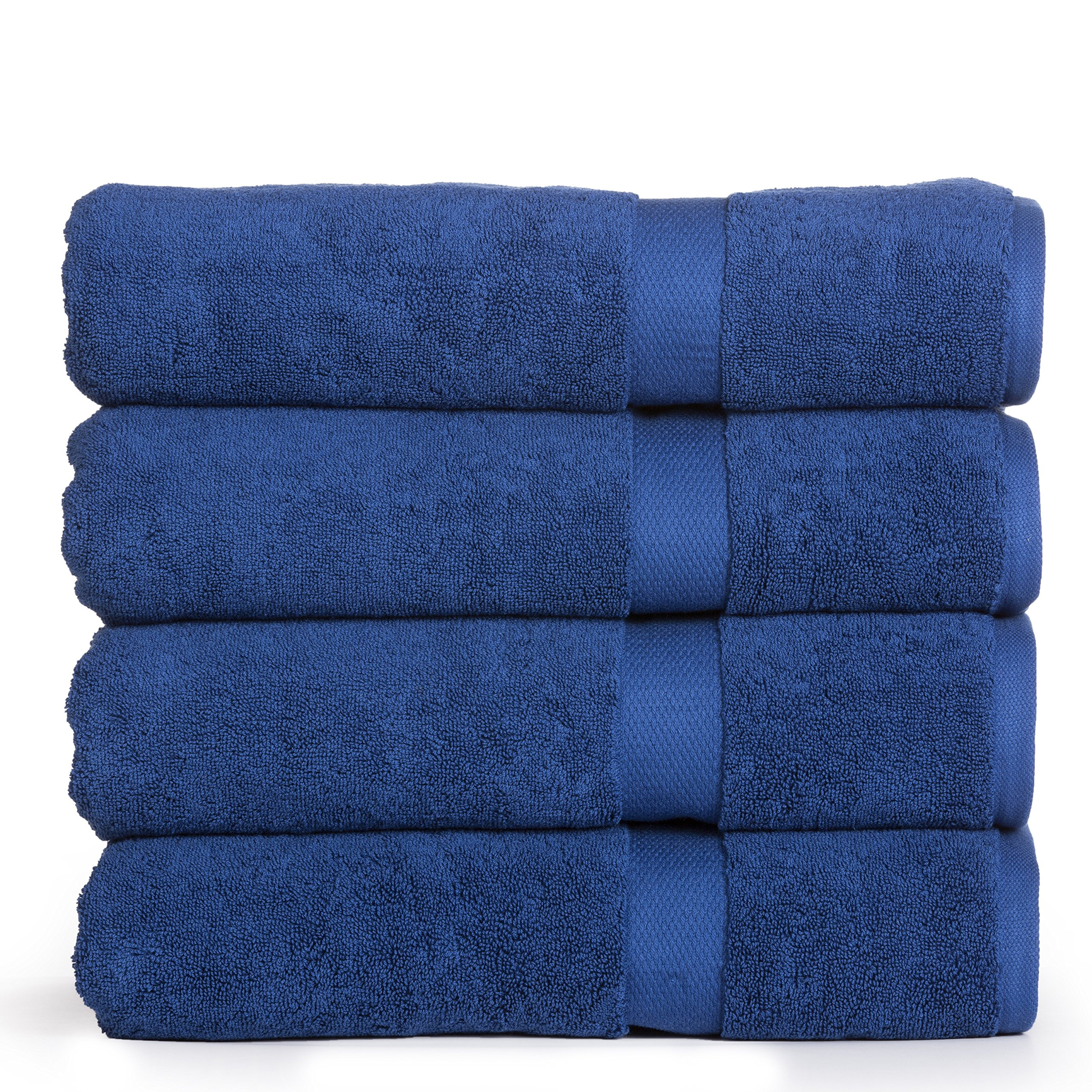 Madhvi Collection 800 GSM Premium Combed Cotton Extra Large 30 x 60 Inch Bath Towels 4 Pack, Oversized and Heavy Bath Towel Set, Hotel and Spa Towels Set With Maximum Softness, High Absorbency (Navy) by Casa Platino (Image #1)