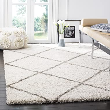 Safavieh Hudson Shag Collection SGH281A Ivory Grey Moroccan Diamond Trellis Square Area Rug (5' Square)