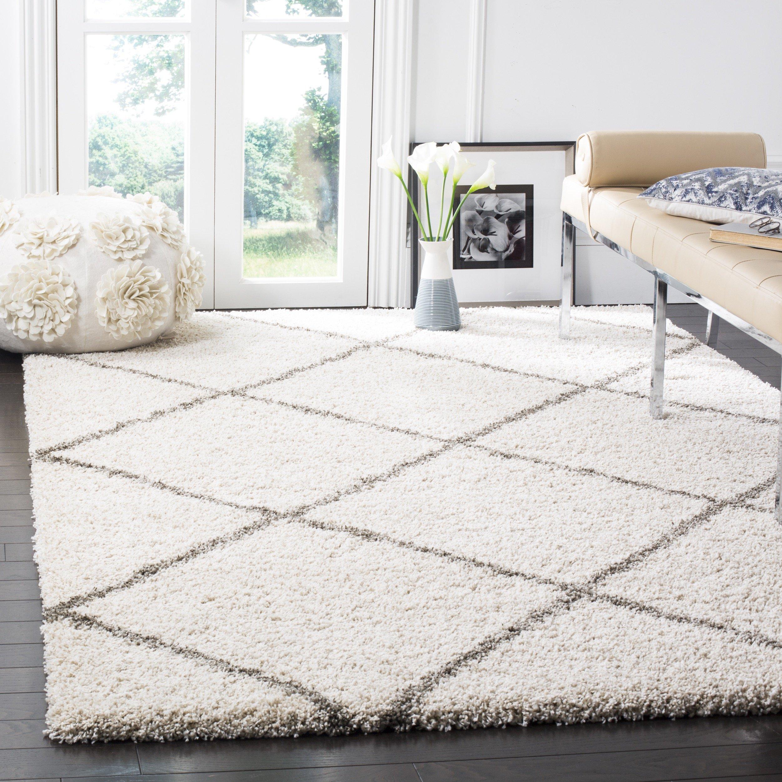 Safavieh Hudson Shag Collection SGH281A Ivory and Grey Moroccan Diamond Trellis Area Rug (10' x 14') by Safavieh