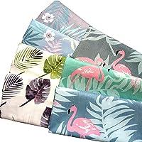 """ZAIONE 7pcs Fat Quarters 19.6"""" x 19.6"""" (50cm x 50cm) 100% Cotton Fabric Flamingos Floral Palm Leaves Printed Cotton…"""
