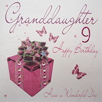 White cotton cards wb86 9 pink present granddaughter 9 happy white cotton cards wb86 9 pink present granddaughter 9 happy birthday handmade 9th birthday bookmarktalkfo Images