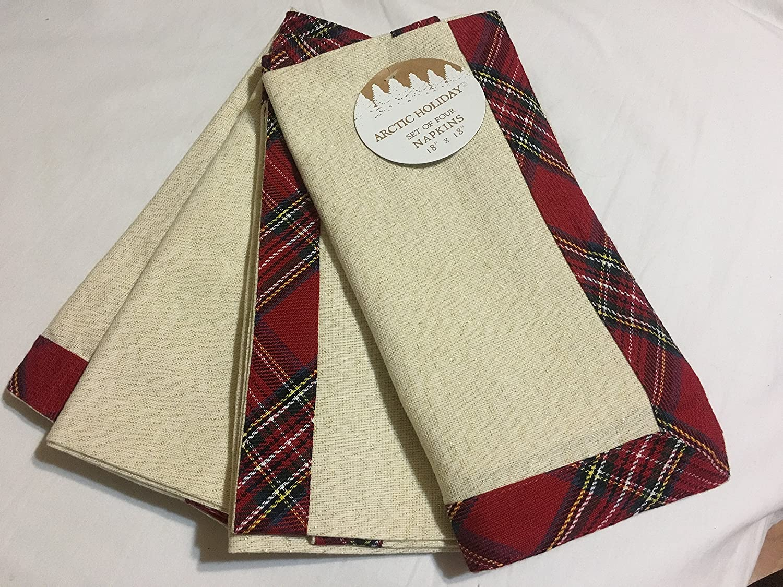 "Holiday Cabin Plaid Dinner Napkin Set 4 Tartan 20/"" Christmas Soft Cotton Flannel"