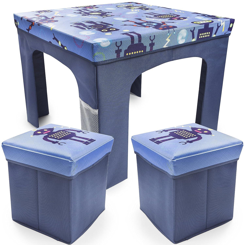Soidea 3PCS FOLDABLE TABLE & STOOL SET …