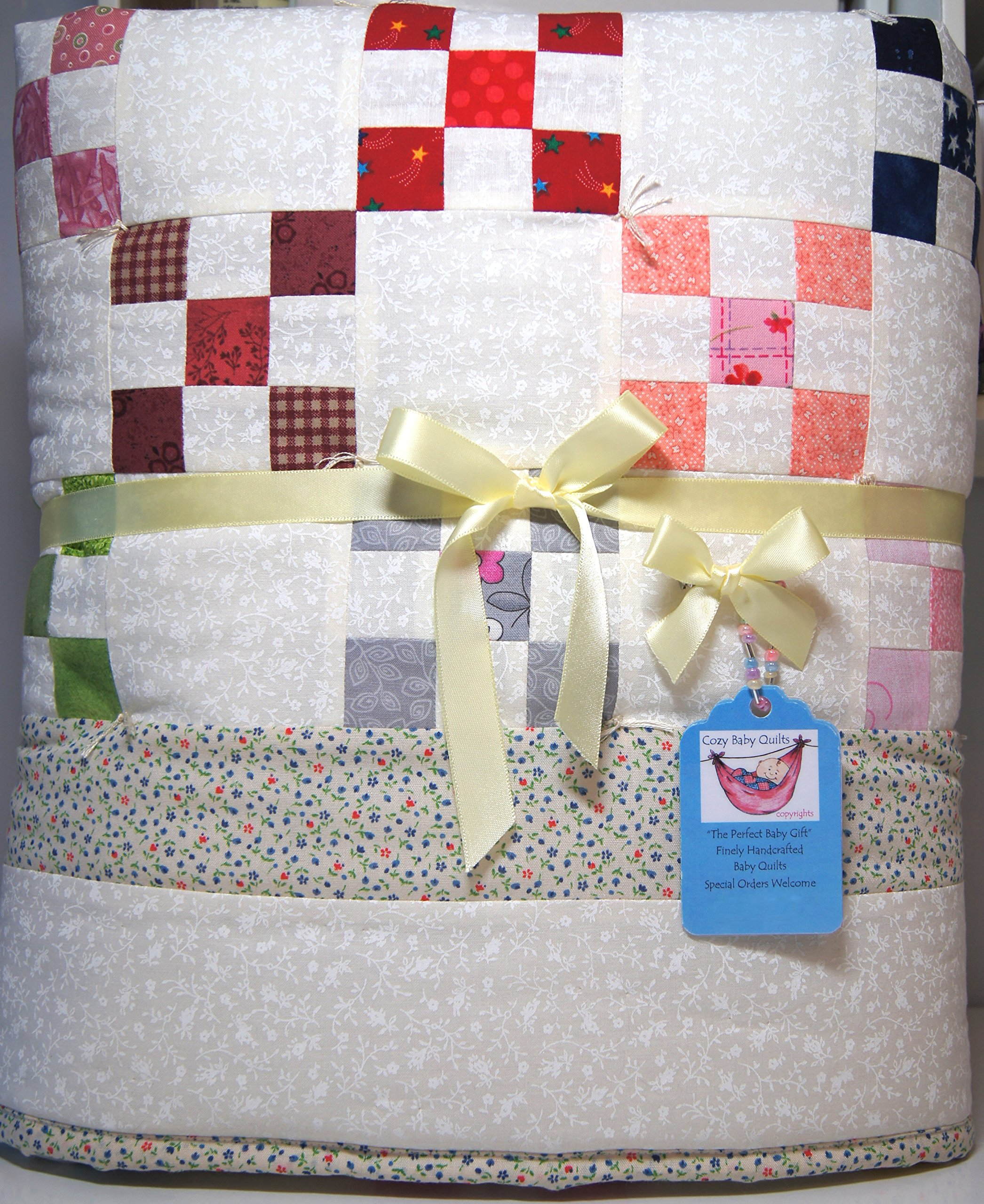 Multicolor Nine Patch Handmade Baby Quilt