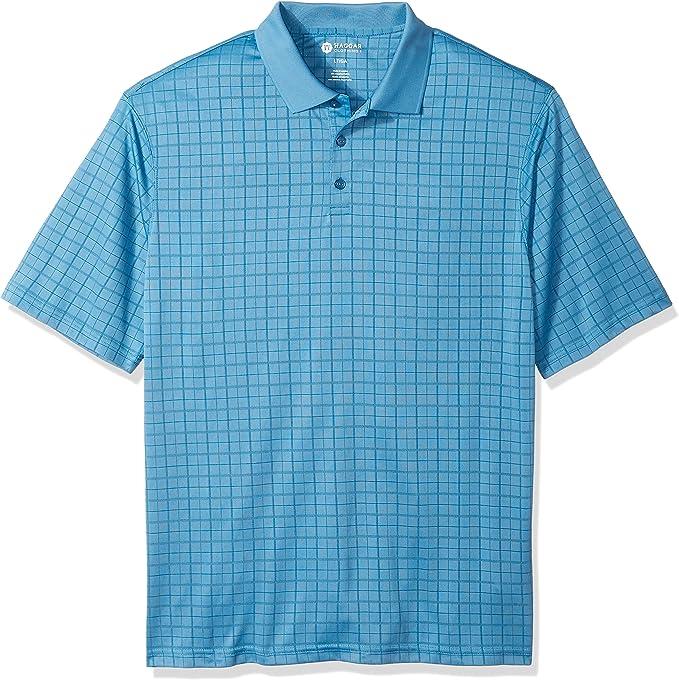 Haggar Mens Big-Tall Short Sleeve Windowpane Textured Knit Polo