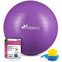 TRESKO® gymnastiekbal met GRATIS poster met oefeningen incl. luchtpomp | BPA-vrij | 55 cm 65 cm 75 cm 85 cm | zitbal…