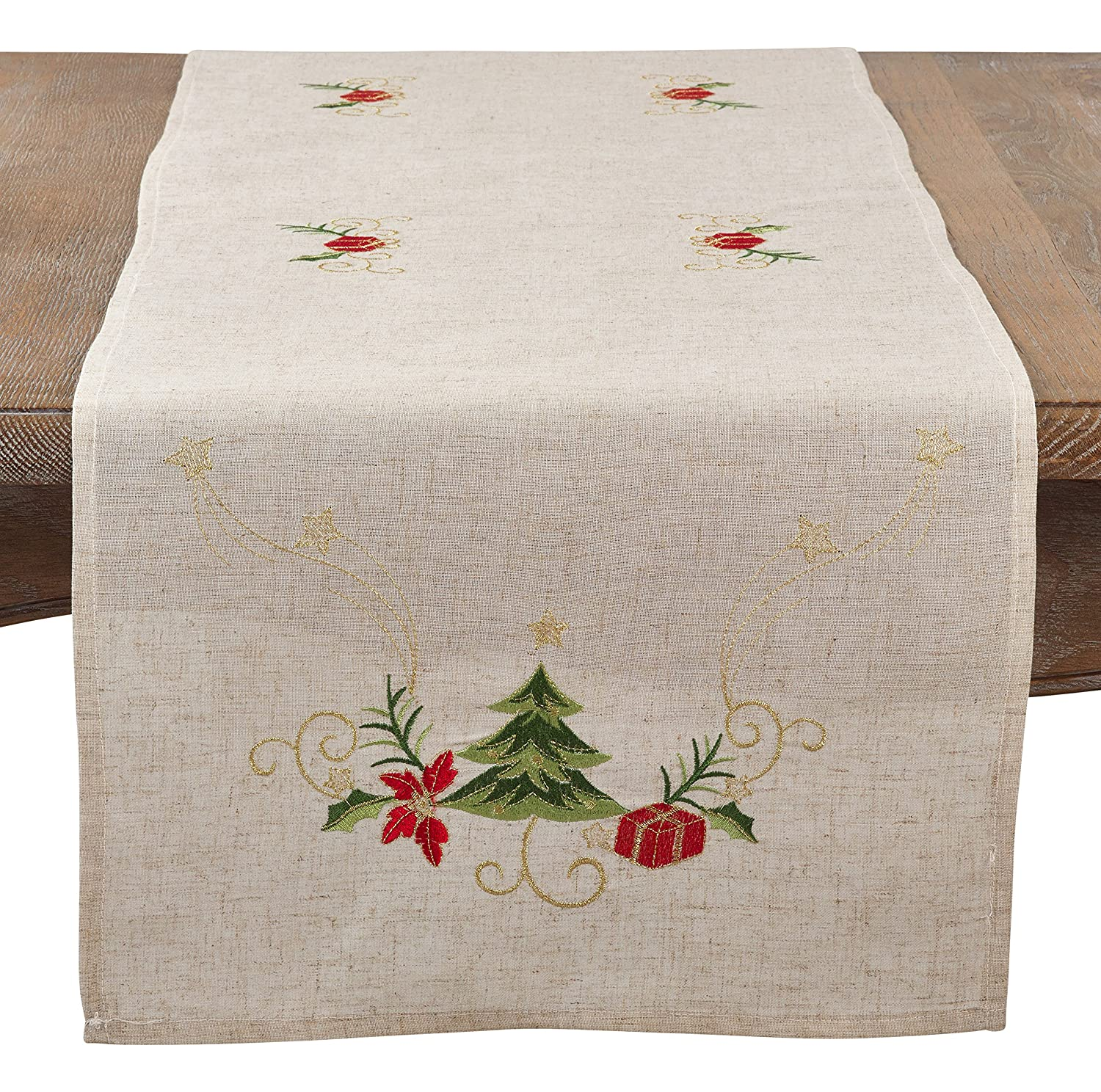 16 x 72 SARO LIFESTYLE Embroidered Christmas Tree Design Linen Blend Table Runner Natural