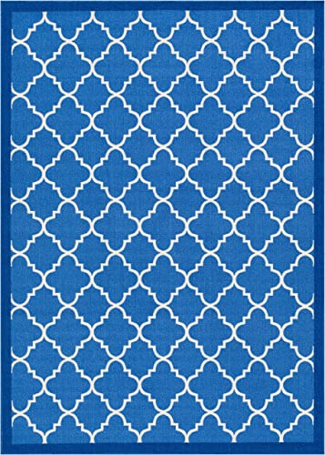 Well Woven Kings Court Brooklyn Trellis Modern Blue Geometric Lattice 7 10 x 9 10 Indoor Outdoor Area Rug