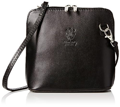 Girly HandBags Leather Rigid Cross Body Shoulder Bag Real Italian-Black cf9c50bb9f969