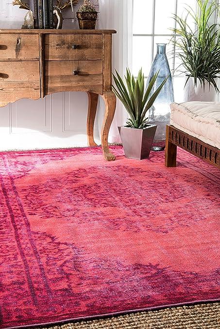 4x6 pink rug safavieh skyler nuloom pink machine made vintage inspired overdyed rug area rug 4 6 amazoncom