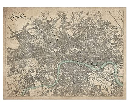 Great London Map.Amazon Com Giclee Sepia Map Of London Large Vintage Map Of London