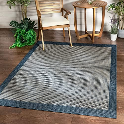 Well Woven Woden Blue Indoor Outdoor Flat Weave Pile Solid Color Border Pattern Area Rug 8×10 7 10 x 9 10