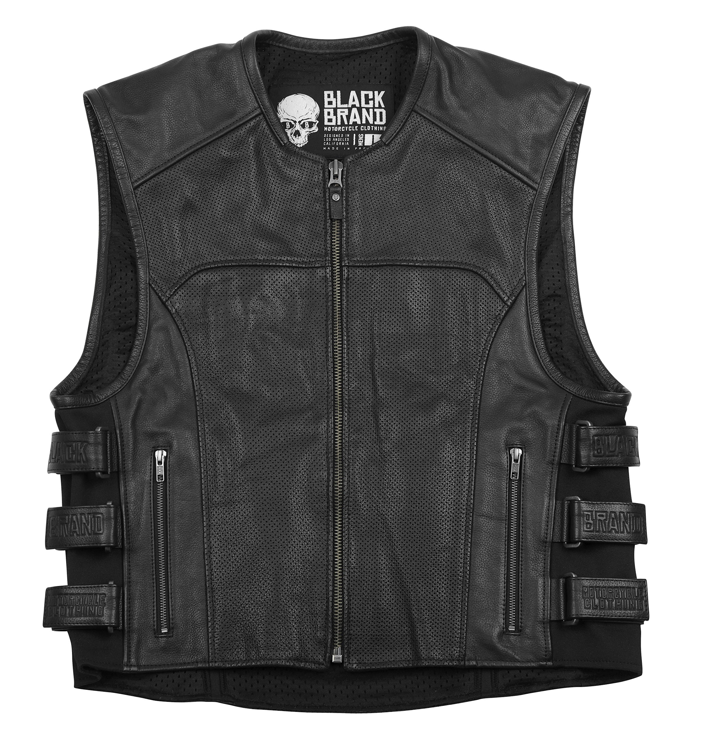 Black Brand Men's Leather Ice Pick Perforated KoolTeK Motorcycle Vest (Black, 4X-Large)