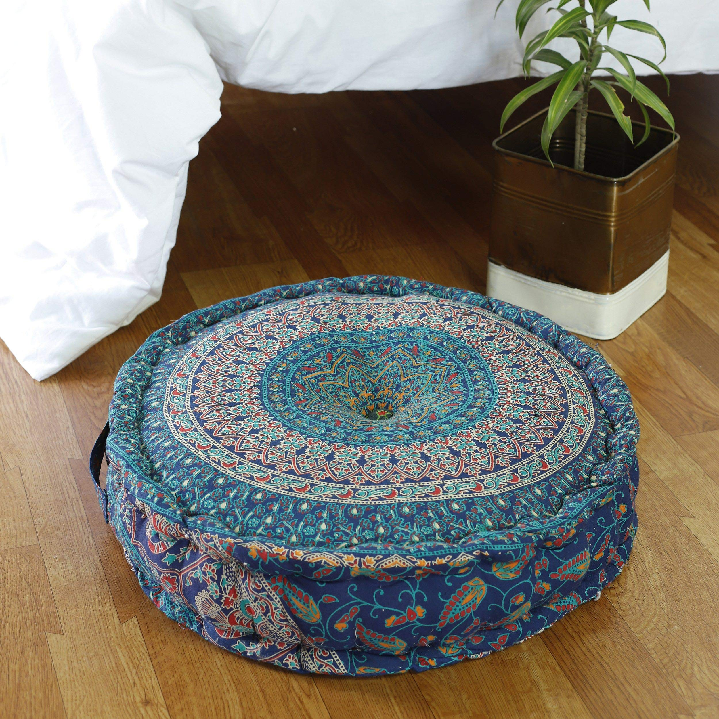 HANDICRAFT-PALACE Traditional Sanganeri Print Cushion Pillow Home Decor Throw Mandala Cotton Filled Seat Ottoman Pouf Living Room Bed Room Seating Large 20'' Wide (Blue)