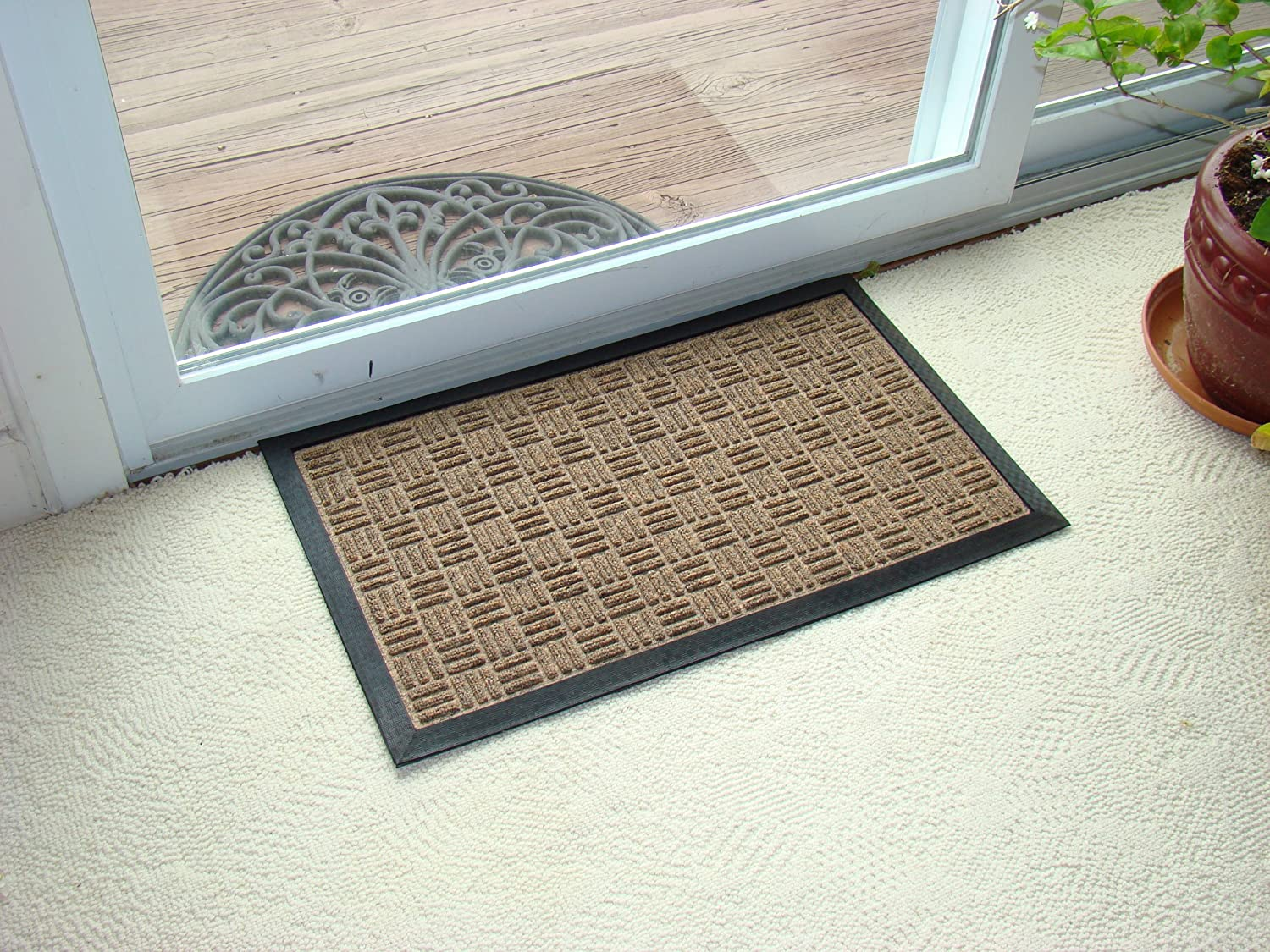 Kempf Water Retainer Mat, 18 by 30-Inch, Brown, Durable Rubber Door Mat, Carpet-Like Polypropylene Fabric, Easy Clean, Low Profile for Entrances, Patio, High Traffic Areas, Dog/Cat mat