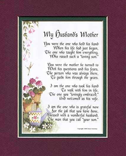 Amazon My Husbands Mother A Mothers Day Gift Poem Birthday Present For In Law 87 Home Kitchen