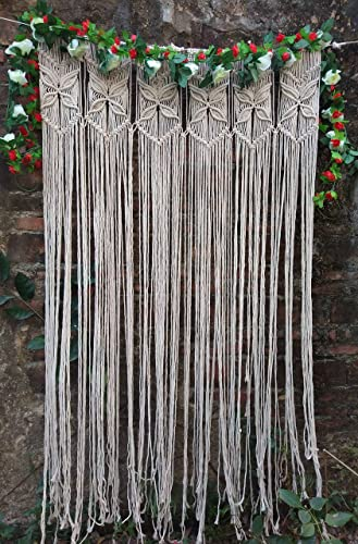 RISEON Macrame Wall Hanging Tapestry- Macrame Door Hanging,Room Divider,Macrame Curtains,Window Curtain, Door Curtains, Wedding Backdrop Arch Boho Wall Decor, 35 W x 70 L Style C