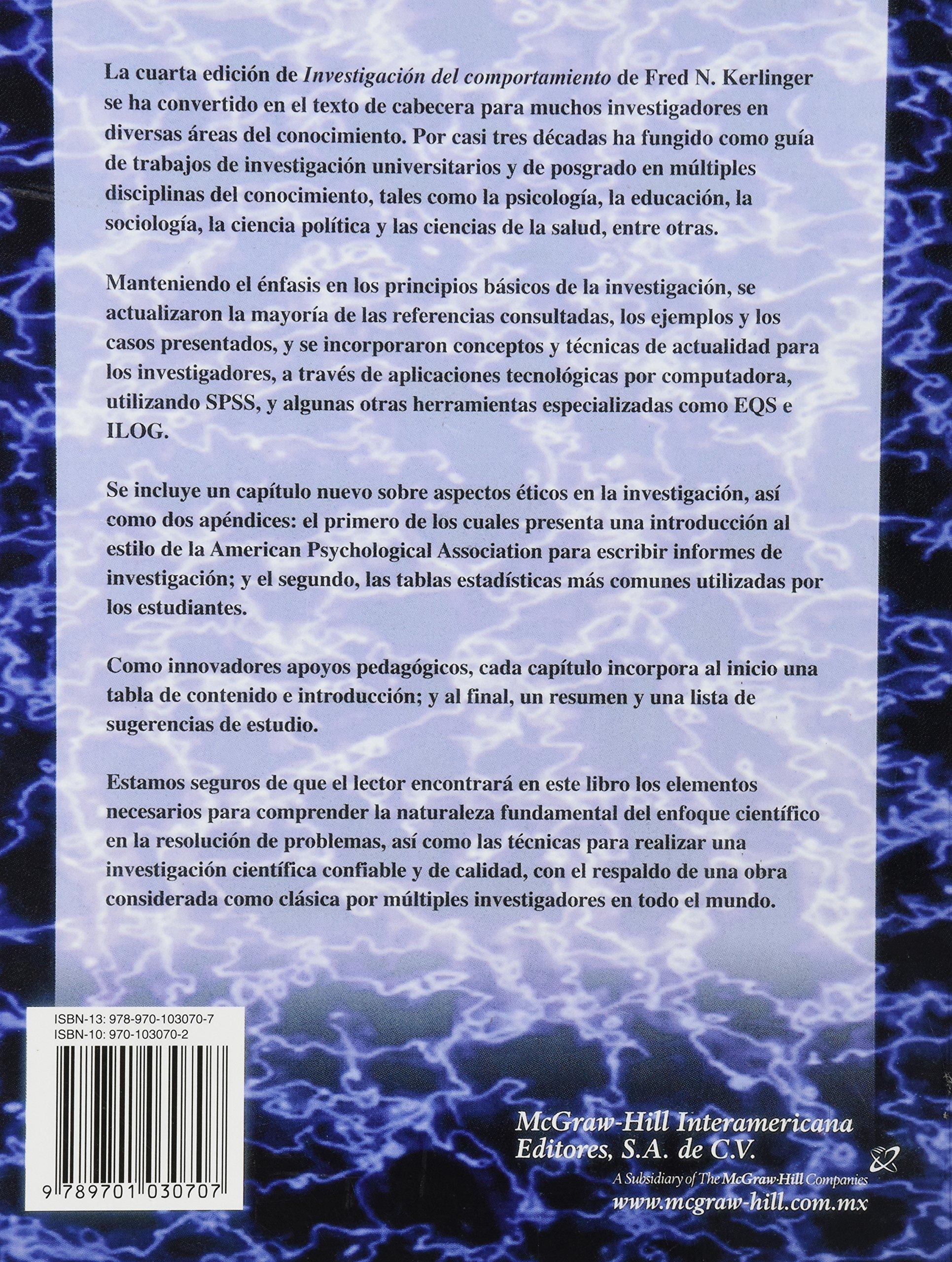 Investigacion del Comportamiento - 4b: Edicion (Spanish Edition ...