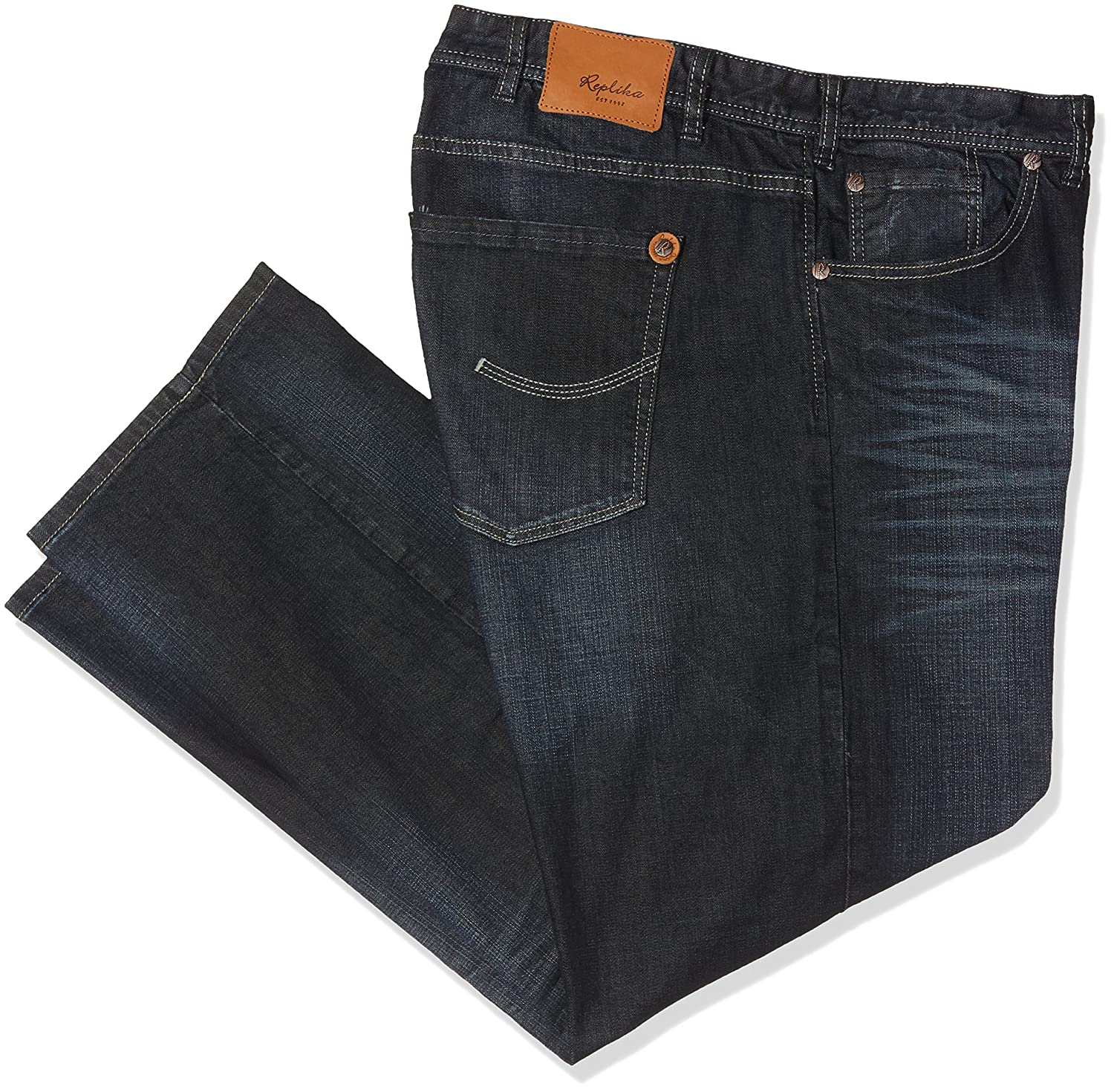 cab735daac9 ALLSIZE Company Replika Designer Jeans Straight Leg with Dark Wash Extra  Large Sizes at Amazon Men s Clothing store