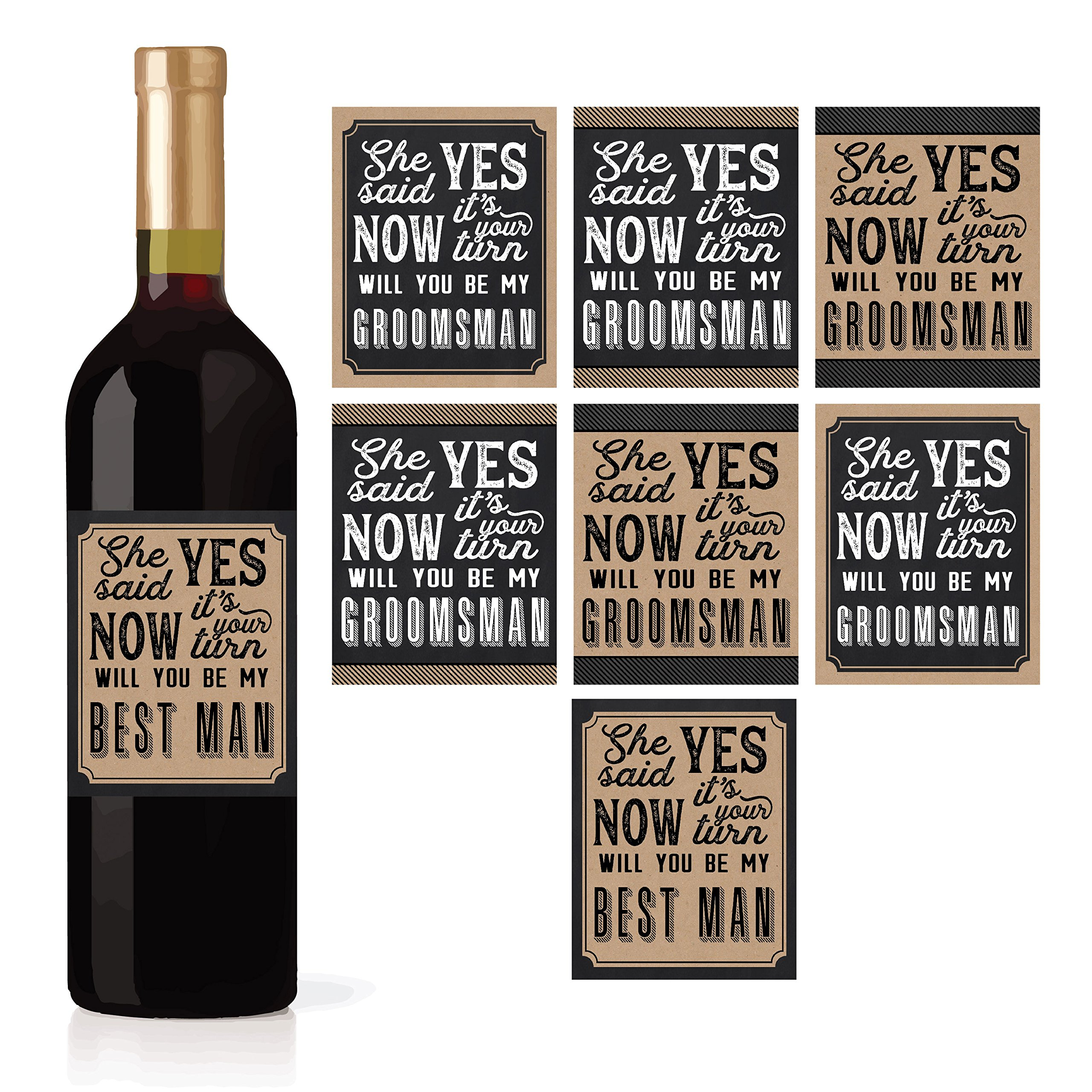 6 Will You Be My Groomsman + 1 BONUS Best Man Proposal Wine, Beer, Whiskey, Liquor Bottle Labels or Stickers Set, Wedding Engagement Supplies For Groomsmen Party Favors Best Way To Ask Your Grooms Men