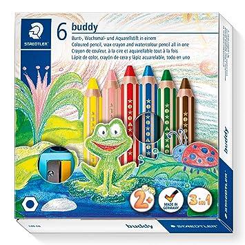 Staedtler 140 C6 ST 3in1 Buntstift buddy (Bunt-, Wachsmal- und Aquarellstift, extra bruchsicher, ideal für Kinder, für viele