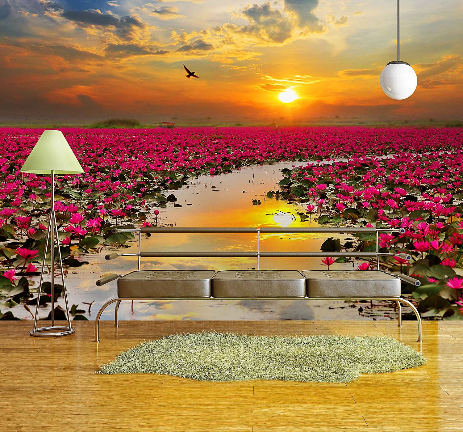 Sunshine Rising Lotus Flower in Thailand - Removable Wall Mural | Self-adhesive Large